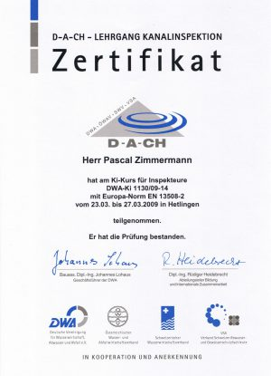Zertifikat Kanalinspektion